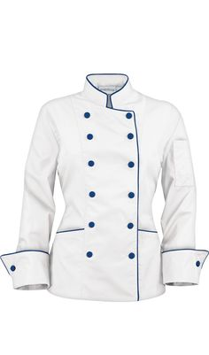 9dec1cf33 Women's Traditional Chef Coats - Contrast Piping - Fabric Covered Buttons -  65/35 Poly