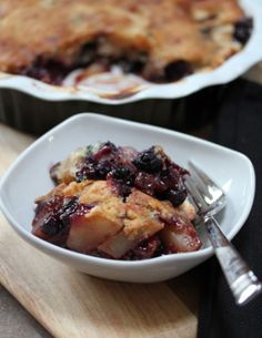 Gingered Pear and Blueberry Cobbler
