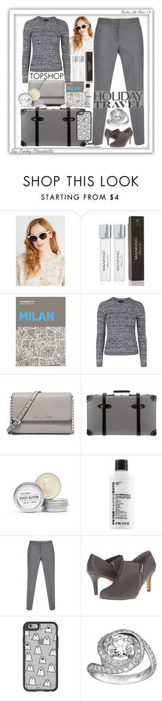 """#206 Travel in Style, Holiday Edition"" by pinky-chocolatte ❤ liked on Polyvore featuring Kenneth Cole, Casetify, Palomar, Topshop, MICHAEL Michael Kors, Globe-Trotter, Fig+Yarrow, Peter Thomas Roth, Paul Smith and Michael Antonio"