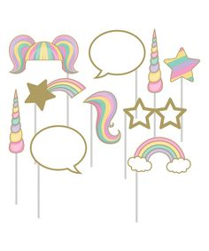 Take a look at this Sparkle Unicorn Photo Booth 20-Piece Prop Set today!