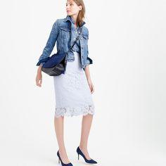 """Workdays, weekend nights, whenever (you need to look amazing)—a polished lace pencil skirt is always the answer. <ul><li>Sits at waist.</li><li>26"""" long.</li><li>Falls above knee.</li><li>Nylon/cotton/viscose.</li><li>Back zip.</li><li>Lined.</li><li>Dry clean.</li><li>Import.</li></ul>"""