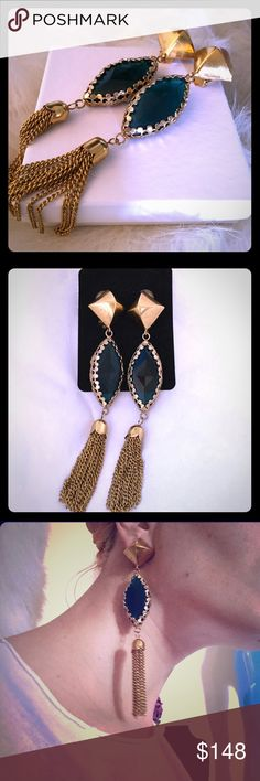 SLJ Italy Emerald Crystal & gold Tassel Earrings Beautiful one of a kind vintage gold tassel earrings by renowned jewelry designer Sherri Jennings. Her stunning one of a kind pieces have been made for her celebrity clients, &mostly unavailable to the public. Among those wearing Sherri's designs are Kim Kardashian, Cindy Lauper, Nelly Furtado, Mary Kate Olsen, Jada Pinkett-Smith and more. Made of 18k Italian Gold and green emerald crystals. SJL jewelry inspires the allure of the past, while…