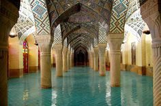 Nazir al-Molk Mosque - Shiraz - Iran. It was built around by order of Nasirol-Mulk an aristocrat of Shiraz. Beautiful Mosques, Beautiful Buildings, Beautiful Places, Beautiful Pools, Islamic Architecture, Art And Architecture, Amazing Architecture, Visit Iran, Shiraz Iran