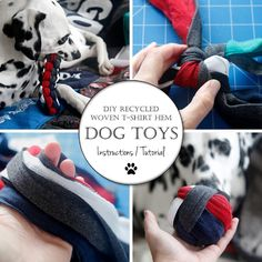 Recycled T-Shirt Hem DIY Woven Dog Toys   Making t-shirt yarn or cutting patchwork for a t-shirt quilt? At last, I finally found a good use for my scrappy bottom hem offcuts!