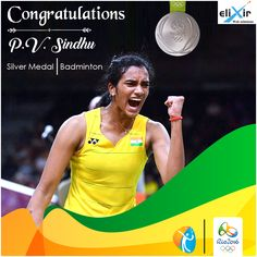 Proud moment for India! Congratulations P V Sindhu for making #India‬ proud and being the first Indian to win a #SilverMedal‬ in women's badminton at ‪#RioOlympics2016‬ !