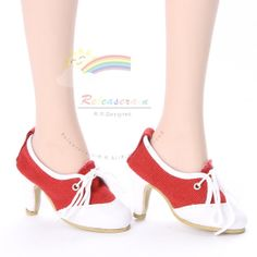 """Lace-Up High Heel Pumps Sneakers Shoes Red for 22"""" Tonner American Model dolls"""