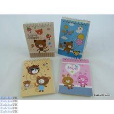Kawaii Notebooks - Cute Animals Design - Spiral Bound (60 books - 4 Assorted Designs) Novelty Rubbers Erasers Kawaii Stationery Wholesales