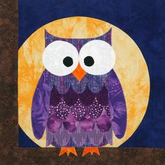Quiltmakers 100 Blocks Vol. Hootie (block by Shayla Wolf Owl Quilts, Bird Quilt, Animal Quilts, Quilting Tutorials, Quilting Designs, Quilting Ideas, Sewing Crafts, Sewing Projects, Owl Applique