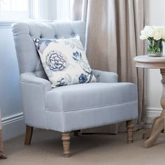 Featuring an elegant buttoned back flowing into chic pleated roll arms, our Linen Buttoned Armchair in duck egg blue is beautifully crafted and offers both comfort and superb style. From Lavender Hill Interiors. Hamptons Style Bedrooms, Hamptons House, The Hamptons, Hamptons Decor, Duck Egg Blue Living Room, Duck Egg Blue Bedroom, Duck Egg Blue Linen, Wingback Armchair, Couches