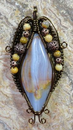 SOLD Blue Lace Agate Wire Wrapped Pendant by maryolczyk on Etsy, $35.00