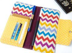 Passport Wallet, Family Travel Wallet, Passport Organizer in Multi Colored Chevron Stripes
