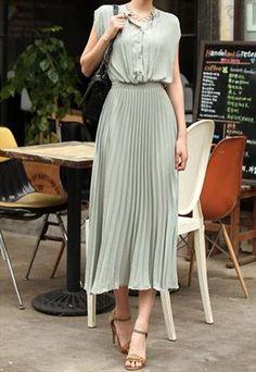 Long turquoise plisses dress- gorrrgeous
