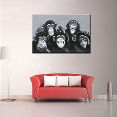 from $$90.08  (Limited Time Deal.) Need an Interesting Accent Piece to Liven Up the Place?: www.rousetheroom.com/products/handpainted-monkey-portraits-painting-on-canvas-large-artwork
