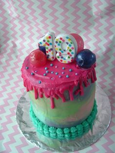 Cake layers of blueberry, banana choc-chip and cherry. Filling is passionfruit and raspberry and the bubbles on top are made by dipping water balloons in gelatine.