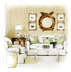 Room rendering, Allison Hennessy design.  By Victoria Molinelli.