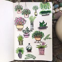 Woww these plants by @dreams.dandelion are so cool can you believe she used bread to sponge on some leaf texture? Such a fun idea! #notebooktherapy