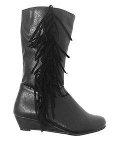 Look at this #zulilyfind! Black Chloe Fringe Boot by Link #zulilyfinds