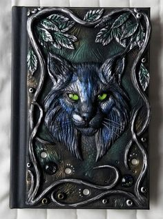 Lynx, polymer clay journal, fantasy, forest, 200 blank pages