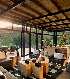 TRAILS LODGE, QUICK FACTS 5 Luxury Tents for 8 guests Children of 16 and older welcome. (Strictly no under 16 policy) Open plan lounge and dining area Full range of dietary preferences catered for No electricity, but limited solar power available. Decoration Restaurant, Luxury Tents, Home Trends, Tropical Houses, Modern House Design, My Dream Home, Home And Living, Architecture Design, Futuristic Architecture