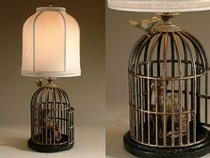 Brass cat in iron birdcage lamp -- Love the whimsy