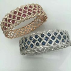 These spectacular bangles have just arrived! Inbox us for details. Great Mothers Day Gifts, Bangles, Bracelets, Jewelry Patterns, Fine Jewelry, Jewellery, Sapphire, Diamond, Lovers