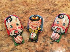 Vintage T. Comm Inc. 3 Clown Tin Toy Clicker