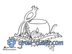 новогодняя раскраска птица и свечка скачать бесплатно / christmas light coloring page