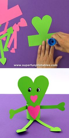 Paper heart people : Easy paper craft idea for Valentines Day with printable template. Create cute paper heart people as handmade gifts or DIY toys to spread the love this Valentines Day! So cute and a fun paper craft for kids Valentines Bricolage, Valentine Day Crafts, Valentine Decorations, Valentine's Day Crafts For Kids, Projects For Kids, Garden Projects, Saint Valentin Diy, Easy Paper Crafts, Wood Crafts