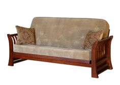 Special Offers Available Click Image Above: Solid Futon Bed Frame With Fanned Arm Design And Mattress In Cohiba Finish Futon Bed Frames, Outdoor Furniture, Furniture Ideas, Outdoor Decor, Dining Bench, Mattress, Futons, Couch, Interior Design