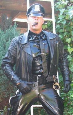 Tight Leather Pants, Leather Cap, Leather Gloves, Leather Jacket, Cigar Men, Men In Uniform, Cop Uniform, Good Looking Men, Black Men