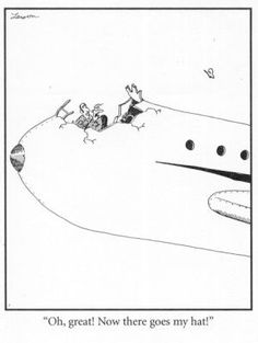 Airplane Trouble Far Side Cartoons, Far Side Comics, Funny Cartoons, Aviation Technology, Aviation Humor, Airline Humor, Gary Larson Far Side, Pilot Humor, Cheap International Flights