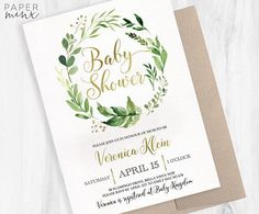 Baby Shower Invitation Greenery Invitation Printed