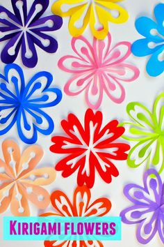 How to cut and fold kirigami flowers- super easy and fun spring craft