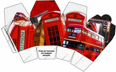 England Party Free Printable Invitations and Boxes.