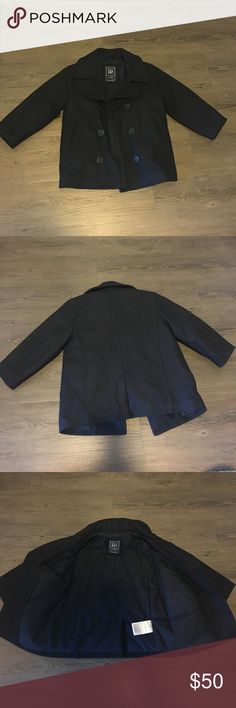 Kids peacoat All black children peacoat. Features hidden inside pocket. Two side pockets. Button closure with 6 buttons. Coat is  wool. Insulated so it's super warm too. Worn once. Perfect for fall/winter GAP Jackets & Coats Pea Coats