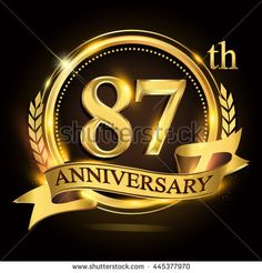 87th golden anniversary logo with ring and ribbon, laurel wreath vector design. - stock vector
