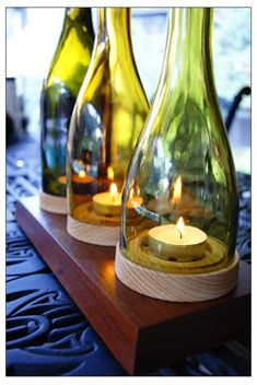 Bottles and crafted wood bases... Wine House, Tea Lights, Wines, Candles, Candle Sticks, Tea Light Candles, Candle, Pillar Candles