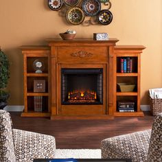 Classic Electric Fireplace Bookshelves Elegant Glazed Pine Mantel Adjustable New #HarperBlvd #Electric #Fireplace #Bookshelves #Furniture