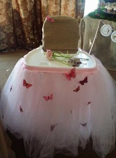 HIgh Chair Tutu Skirt Tulle skirt first by BaileyHadaParty on Etsy