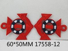 1 Piece - Embroidered Anchor Patch - Red and Navy  approx. 2 1/3 inches - resin - accent - center 17558-12