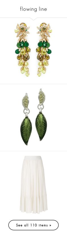"""""""flowing line"""" by sollis ❤ liked on Polyvore featuring jewelry, earrings, 18k gold jewelry, yellow gold earrings, gold earrings, gold earrings jewelry, 18k gold earrings, green earrings, green jewelry and enamel jewelry"""