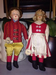 "Pair of Antique Martta Martha Finland Cloth Dolls Boy & Girl Tagged! 10"" Mohair"