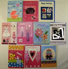 Deluxe Handmade Greeting Cards All Occasion 10 Pack Color Co-ordinated envelopes included Size is 4.75 x 6.75 Each card is plastic wrapped for protection until use Text on front of cards is foil stamped