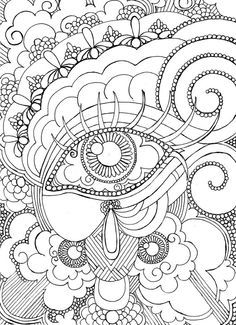 Eye Want To Be Colored Adult Coloring Page Steampunk Detailed Hand Drawn Design Kids