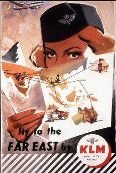 This fly to the FAR EAST poster was issued in 1954 and created by Frans Mettens. What's on her mind?