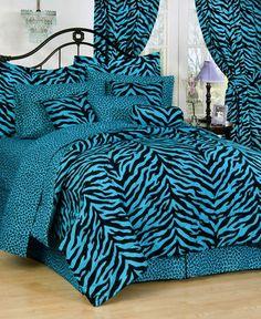 Blue Zebra Bedding Set -  Animal print bedding for #teengirlsbedding