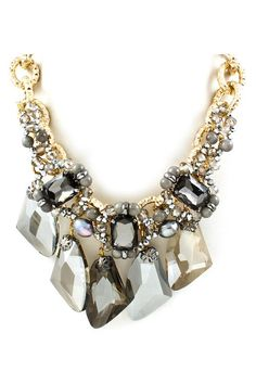 Capri Necklace in Black Diamond Agate and Crystal
