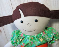 16 Rag Doll with Brown Pigtails Dress Up Doll by FiddledeeDeeCraft, $50.00