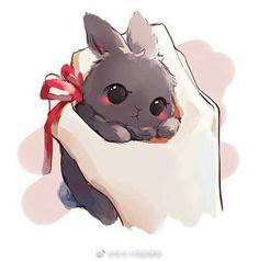 Anime Kawaii Anime Cute Drawings Of Animals Cute Kawaii Animals, Cute Animal Drawings Kawaii, Kawaii Art, Cute Baby Animals, Cute Drawings, Kawaii Anime, Cute Cartoon Animals, Bunny Drawing, Bunny Art