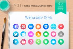 Vector Social Media Icons -ProColour by 3Angle on @creativework247